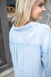 Carolina Balloon Sleeve Button Blouse Lt. Denim