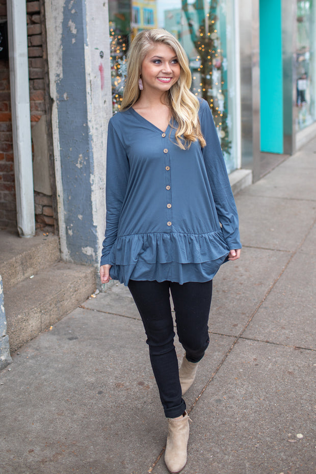 Brenna Ruffle Button Down Top Blue