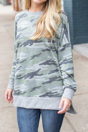 """Let's Wander"" Camo Sweatshirt Green"