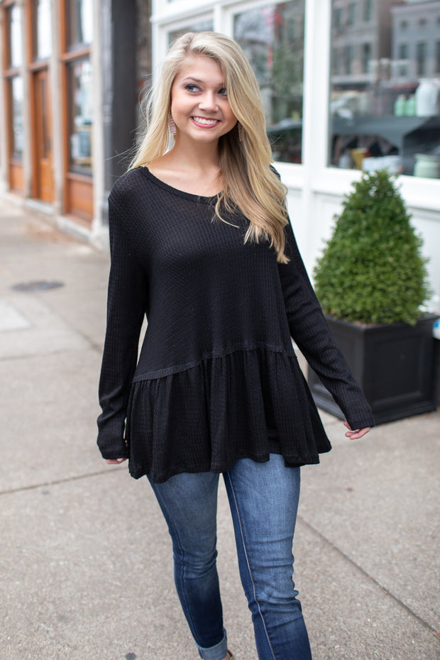 Skylar Thermal Peplum Blouse Black