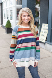Kodie Striped Heathered Sweatshirt Oatmeal
