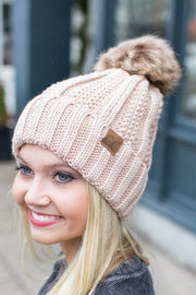 Cable Knit Furry Pom Beanie New Beige
