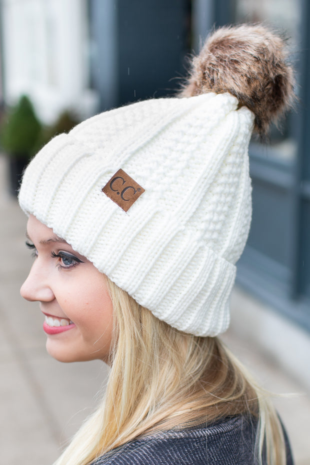 Cable Knit Furry Pom Beanie Ivory
