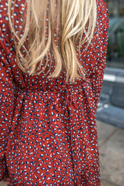 Lori Leopard Ruffle Dress Rust/Navy