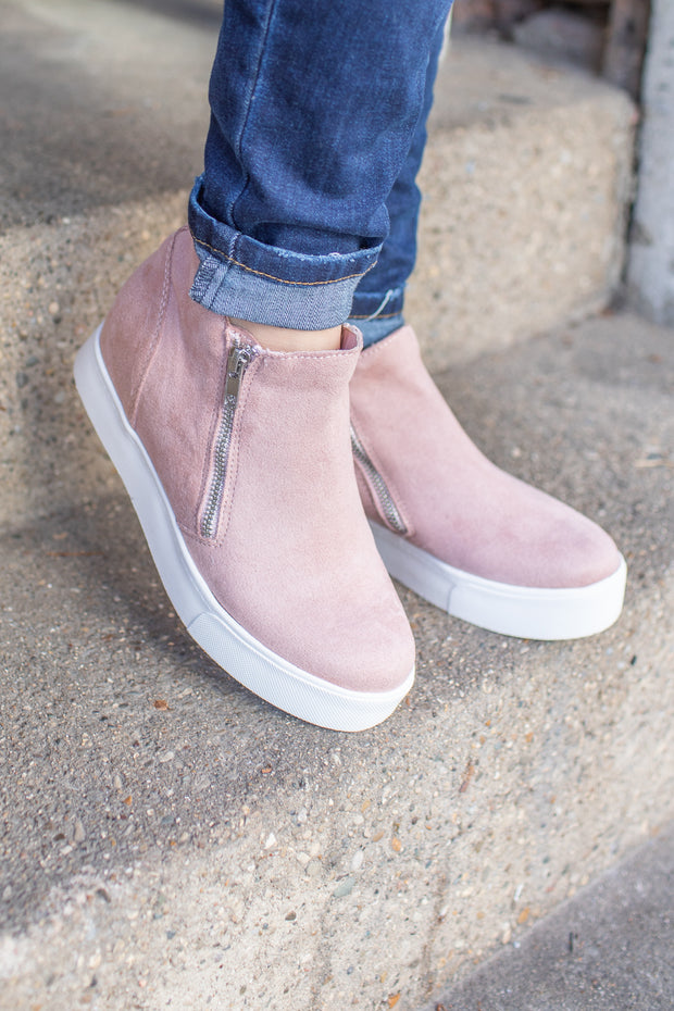 """Tiffany"" Sneaker Wedge Dusty Mauve"