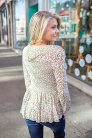 Madison Floral Smocked Peplum Top Ivory