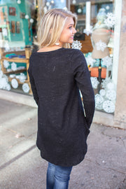 Asher Ribbed V-Neck Top Black
