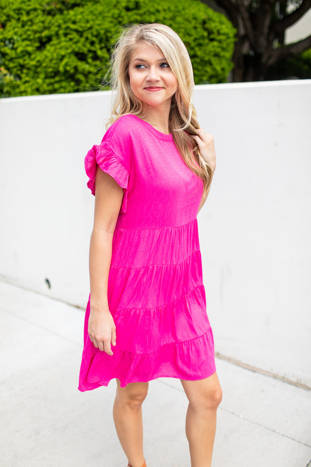 A Day Out Babydoll Dress Hot Pink