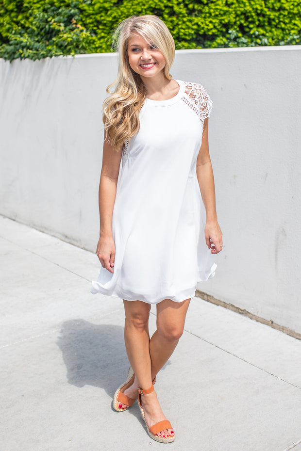 """The Adventure Begins"" Swing Dress White"