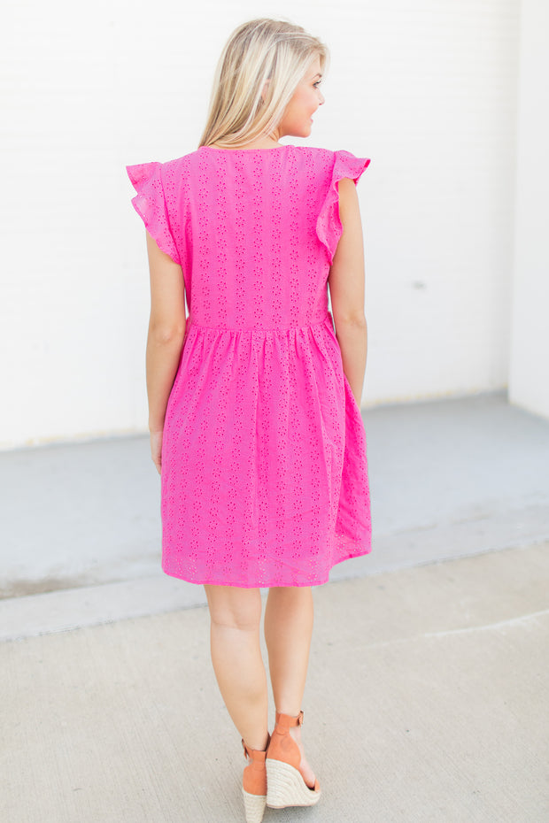 Grace Short Eyelet Dress Hot Pink