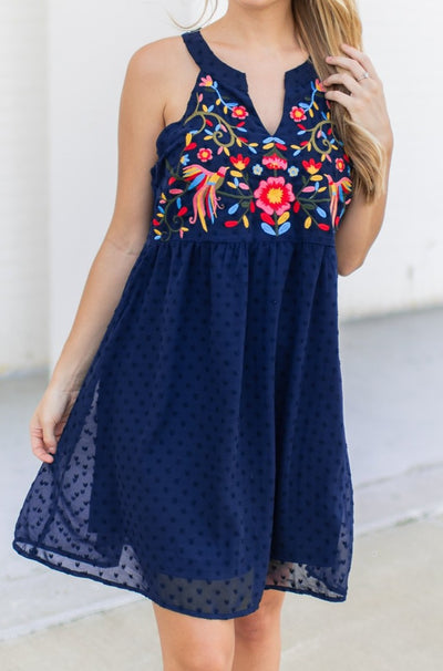 Island Breeze Embroidered Dress Navy