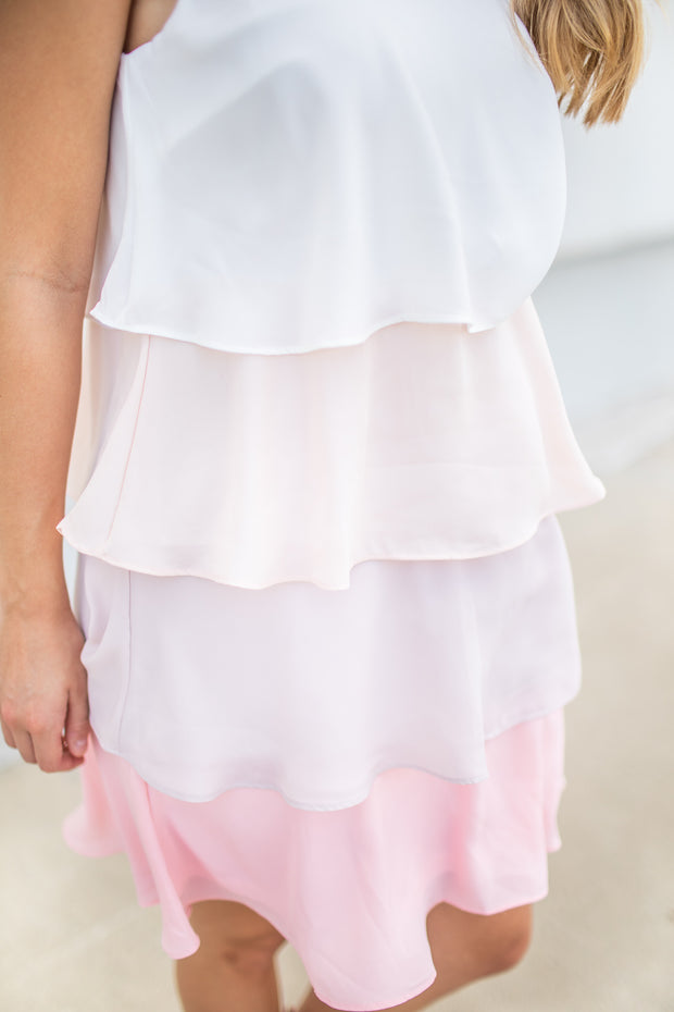 Elle Tiered Ruffle Dress Blush/Ivory