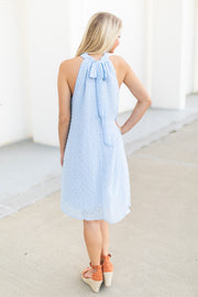 Cierra Swiss Dot Halter Dress Blue