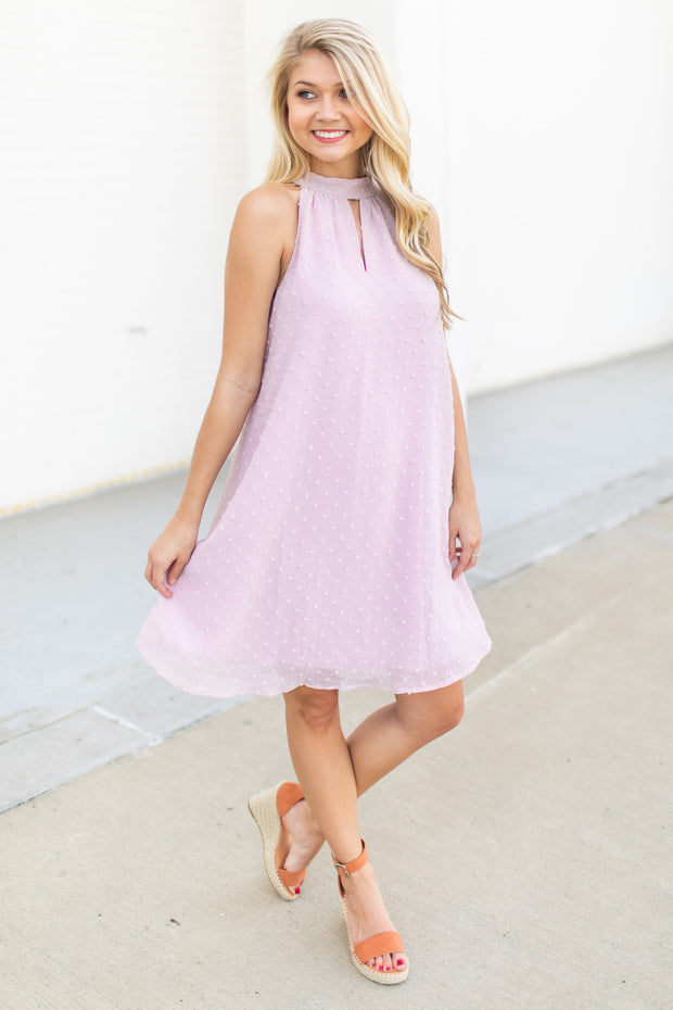 Cierra Swiss Dot Halter Dress Blush