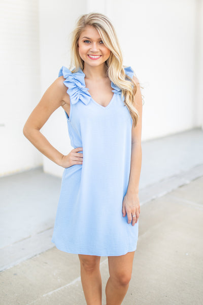 Audrey Ruffle Shoulder Dress Blue