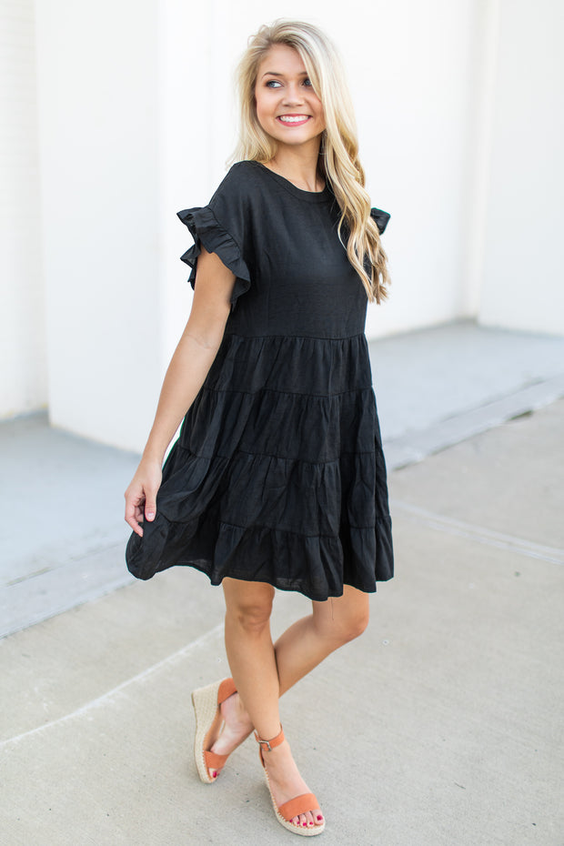 A Day Out Babydoll Dress Black