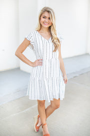Winnie Ruffle Dot V-Neck Dress Ivory