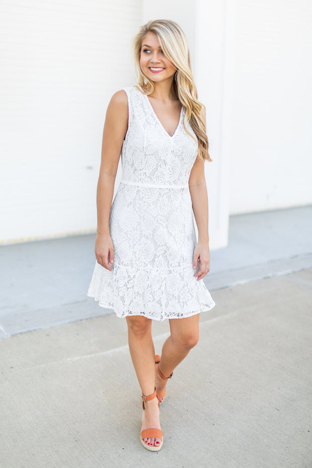 """Let's Fall In Love"" Lace Shift Dress White"