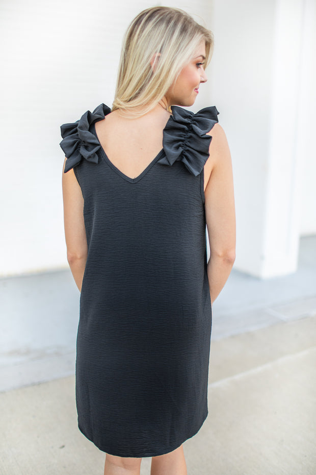 Audrey Ruffle Shoulder Dress Black
