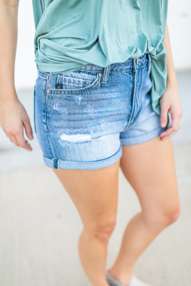 Miley Denim Shorts Distressed Wash