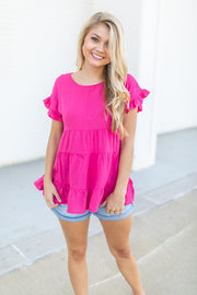 Ready For The Day Babydoll Top Hot Pink