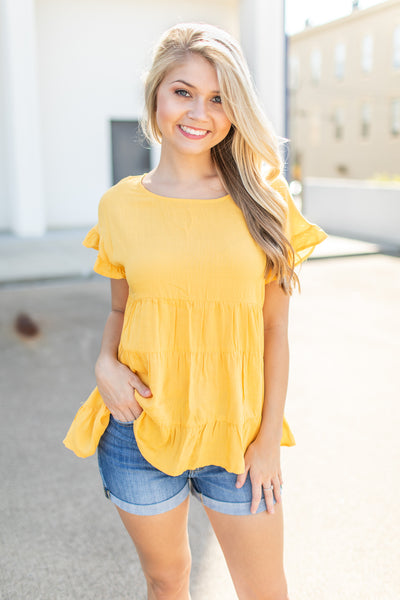 Ready For The Day Babydoll Top Marigold - FINAL SALE