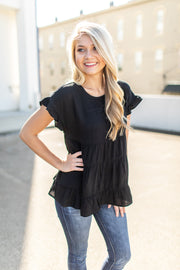 Ready For The Day Babydoll Top Black
