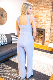 """Whisk Me Away"" Bow Jumpsuit Lilac Grey"