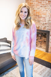 Lexi Long Sleeve Tie-Dye Top Pink/Blue