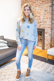 Nova Colorful Star Long Sleeve Top Grey