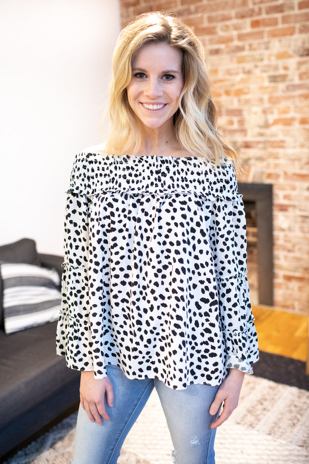 Linden Printed Off The Shoulder Blouse White