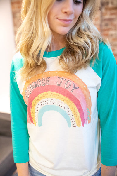 """Choose Joy"" Raglan Seafoam"