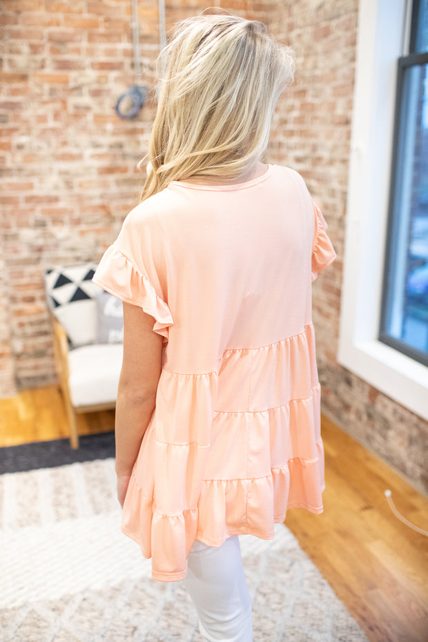 Mollie Babydoll Top Peach