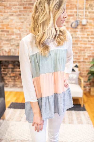 """Spring Fever"" Color Block Blouse"