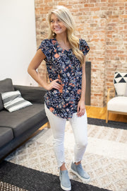 Stephanie Floral Blouse Navy