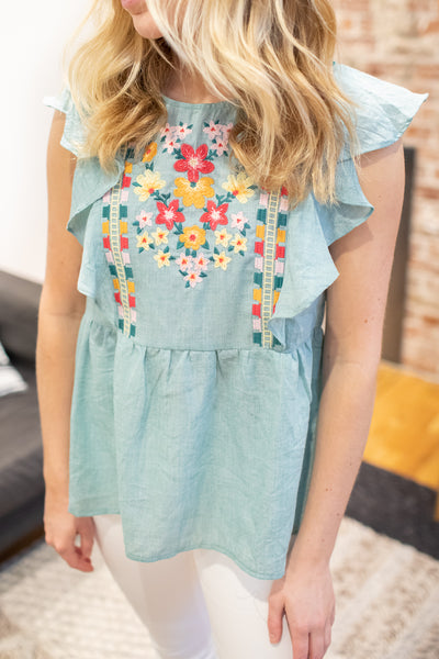 Willow Embroidered Top Mint