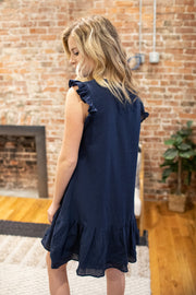 """Feeling Fun"" Navy Ruffle Dress"