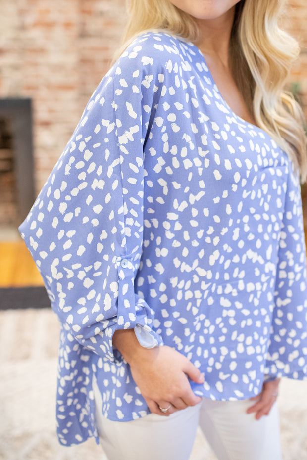 Lily Printed Blouse Light Blue