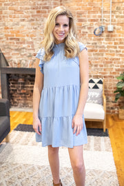"""On a Whim"" Ruffle Dress Light Blue"