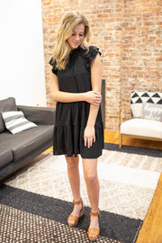 """On a Whim"" Ruffle Dress Black"