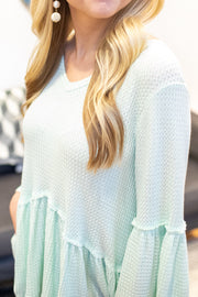 April Ruffle Sleeve Waffle Knit Top Mint