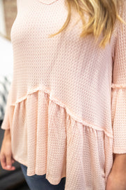April Ruffle Sleeve Waffle Knit Top Peach
