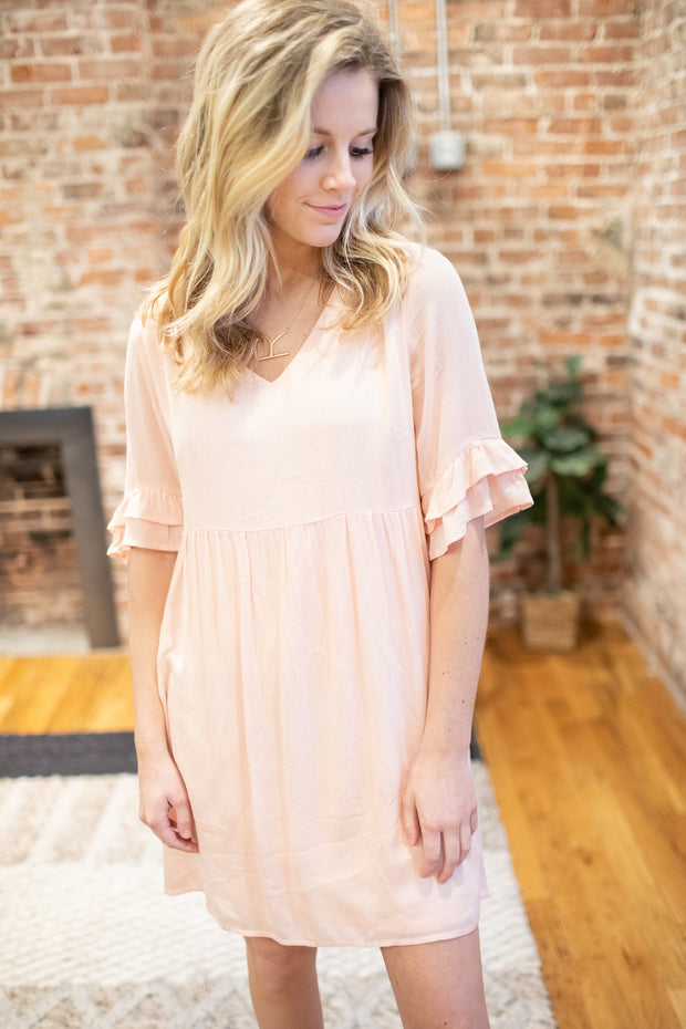 Denver Ruffle Dress Peach
