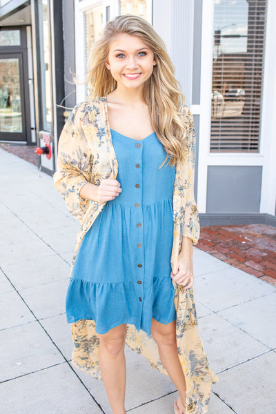 Rowan Button Sun Dress Denim