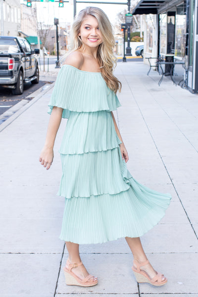 Alanna Off Shoulder Dress Seafoam