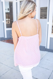 Bridget Swiss Dot Tank Rose