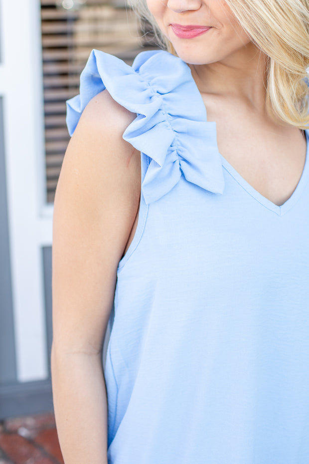 Claire Ruffle Shoulder Sleeveless Top Blue
