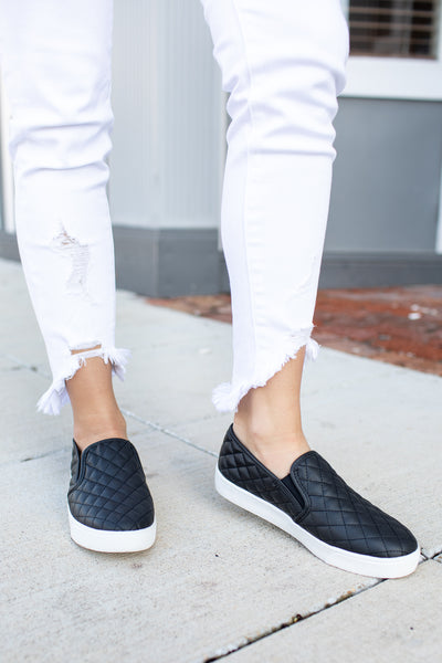 """Reese"" Quilted Slip-On Sneakers Black"