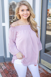 Kala Off Shoulder Swiss Dot Blouse Mauve