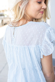 Jessalyn Swiss Dot Babydoll Top Light Blue